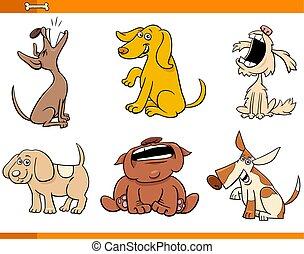 lustiges, satz, hunden, charaktere, komiker, karikatur