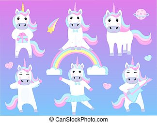 lustiges, satz, tanzen, sitzen, gitarre, unicorns., karikatur, rainbow., charaktere, spielende