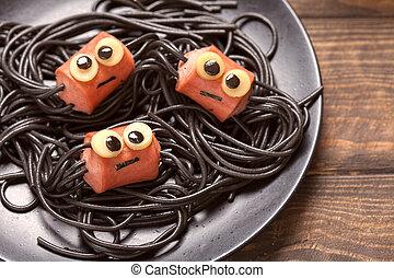 lustiges, sausage, kinder, spaghetti, spinnen