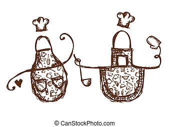 lustiges, schürzen, mit, küchenutensilien, skizze, für, dein, design