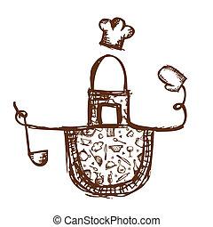 lustiges, schuerze, mit, küchenutensilien, skizze, für, dein, design