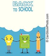 lustiges, schule, zurück, karte