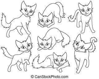 lustiges, sieben, katzen, karikatur