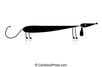 lustiges, silhouette, dachshund, design, schwarz, dein