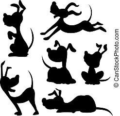 lustiges, silhouette, -, hund, vektor, illus