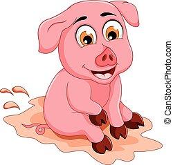 lustiges, sitzen, pfütze, schwein, schlamm, karikatur