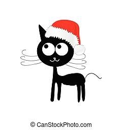 lustiges, und, reizend, katz, mit, rotes , weihnachtshut, vektor