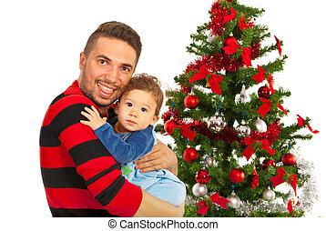 lustiges, vater, und, seine, sohn, bei, weihnachtsbaum