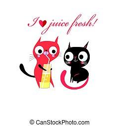 lustiges, vektor, liebe, babykatzen