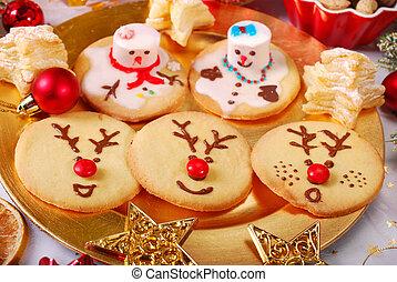 Kinder Weihnachtsgebäck.Lustiges Plï Tzchen Gemacht Weihnachten Kinder Schneemann