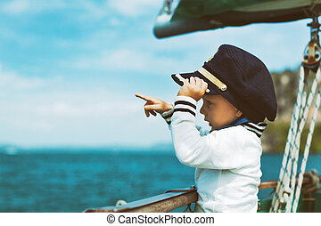 lustiges, wenig, baby, kapitän, bord, von, segeln jacht