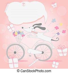 lustiges, wenig, weißes, junger hund, auf, fahrrad