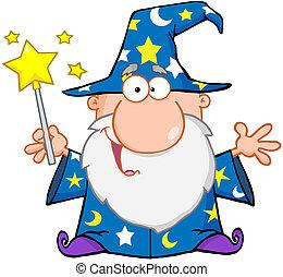 lustiges, zauberer, winkende , mit, magischer zauberstab