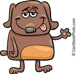 lustiges, zeichen, hund, abbildung, karikatur