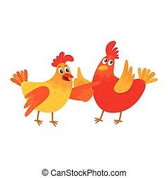 Lustiges zeigen h hner zwei karikatur etwas fl geln - Photos poules rigolotes ...