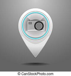 lustré, appareil photo, icône
