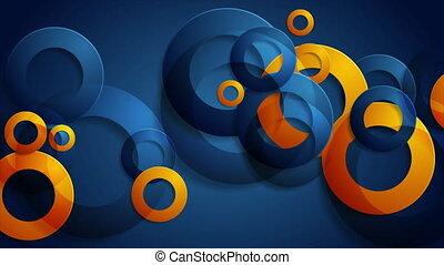 lustré, bleu, anneaux, fond, résumé, orange, géométrique, ...