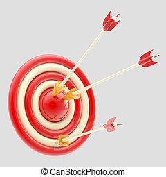 lustré, flèches, dans rouge, cible, isolé