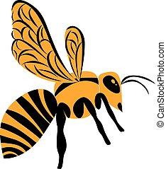 lustré, orange, rayé, insecte, illustré, jaune, b, guêpe, blanc
