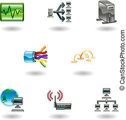 lustré, réseau, icône ordinateur, ensemble
