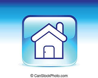 lustré, résumé, icône, vecteur, maison