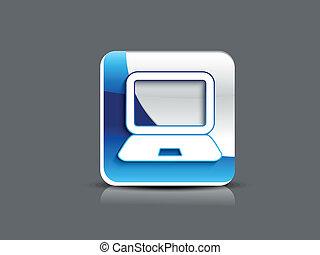 lustré, résumé, icône, vecteur, ordinateur portable
