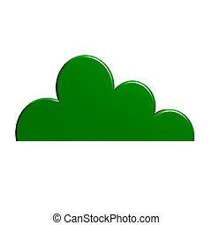 lustré, vert, nuage, isolé, dans, fond blanc