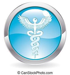 lustre, botón, con, muestra médica