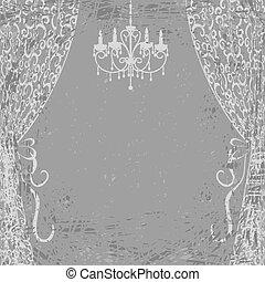 lustre, e, cortinas