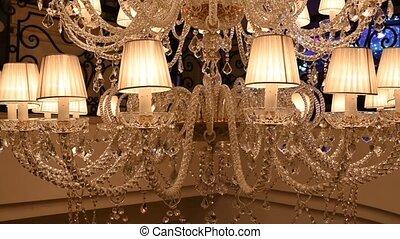 lustre, hall., life., coûteux, chic, restaurant, ou, concept, très, concert, luxe