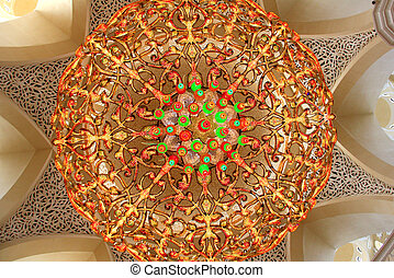 Lustre inside the Zayed Mosque of Abu Dhabi in macro