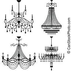 lustre, lâmpada, vetorial