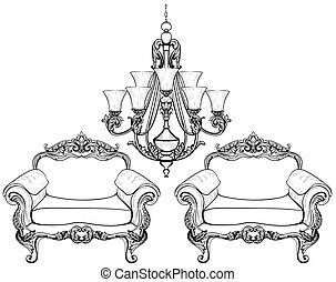 lustre, structure., style, ensemble, fauteuil, royal, décor, francais, luxueux, victorien, vecteur, luxe, riche, compliqué, ornaments., baroque