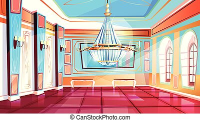 lustre, vecteur, salle bal, illustration
