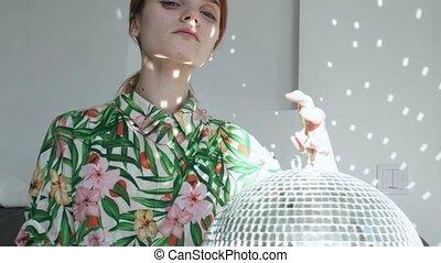 lustro, słoneczny, dziewczyna, błyszczący, odbijanie się, ...