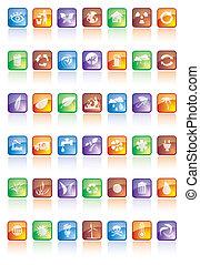 lustroso, botões, com, ícones