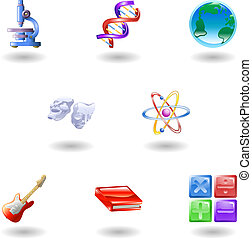 lustroso, categoria, educação, ícones correia fotorreceptora