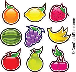 lustroso, coloridos, frutas