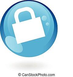 lustroso, fechado, azul, padlock