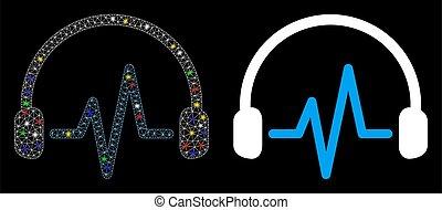 lustroso, manchas, escutar, malha, fio, ícone, chama, quadro