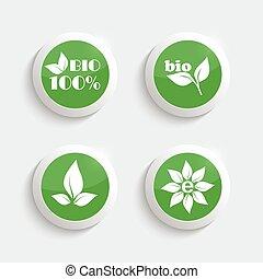 lustroso, plástico, botões, com, ambiental, icons.