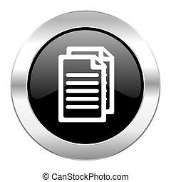 lustroso, pretas, cromo, isolado, documento, ícone, círculo