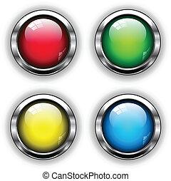 lustroso, teia, botões