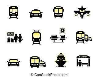 lustroso, transporte, ícones