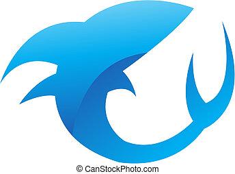 lustroso, tubarão azul