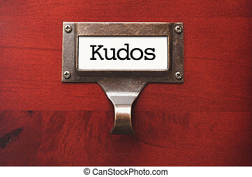 Lustrous Wooden Cabinet with Kudos File Label in Dramatic...