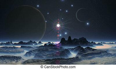 lustrzany, gwiazda, między, dwa, księżyce