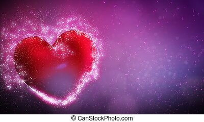 lustrzany, sercowa forma, i, cząstki
