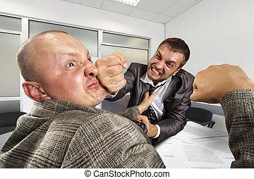 luta, homens negócios, escritório
