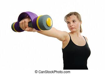 luta, mulher, preparado, barbell, condicão física, mão